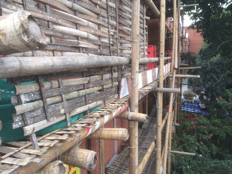 Andamios de bambú. Construcción en China