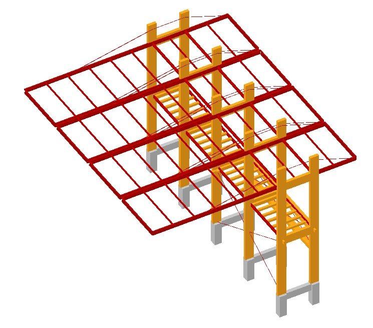 Pérgolas asimétricas de acero y madera. E-struc
