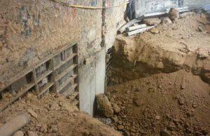 Ejecución de recalce de muros por bataches en sótano