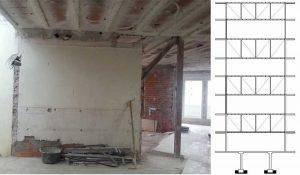Sustitución de cerchas de acero por pórticos de pilares y vigas