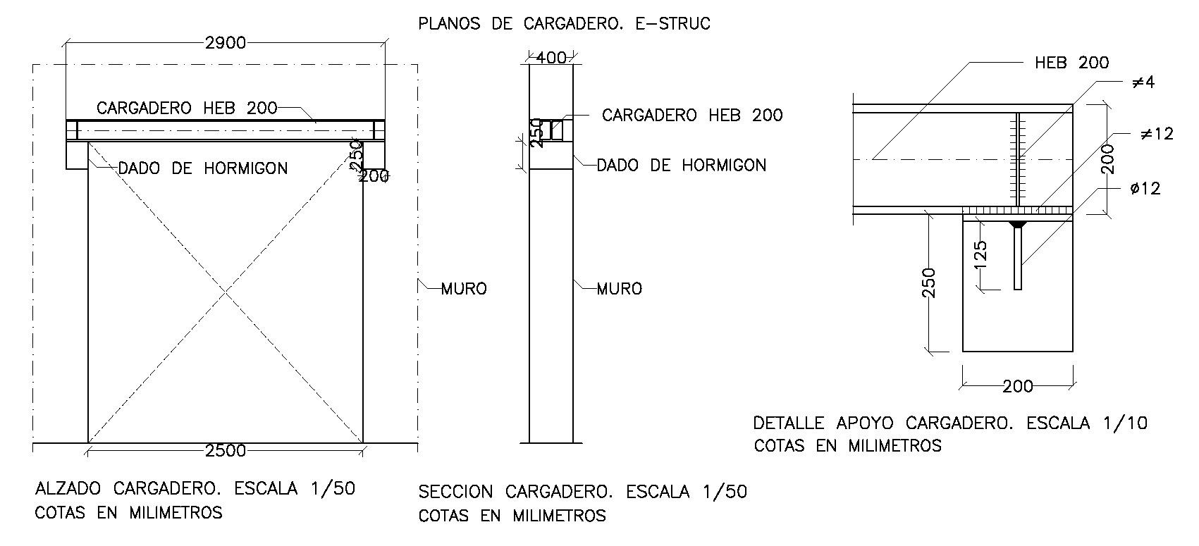 Apoyo de una viga de acero en un muro. E-struc, cálculo de estructuras.