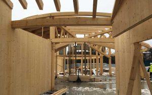 Estructura radial de madera para pabellón infantil