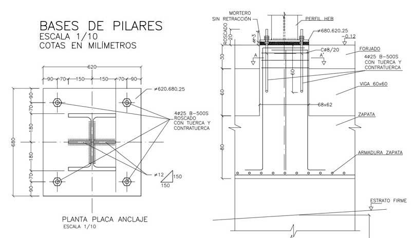 La puesta en obra de las placas de anclaje debe ser muy rigurosa, pues una vez fraguado el hormigón, la pieza está solidariamente colocada al mismo. Un error en la geometría plantea una corrección complicada en obra.