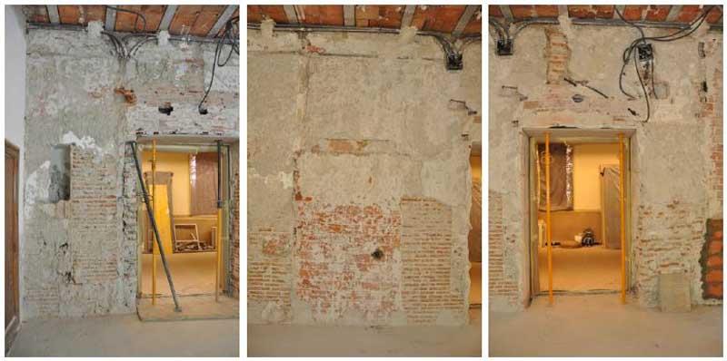 Estudio para la consolidación de un muro de carga en un edificio histórico. Tres zonas del muro
