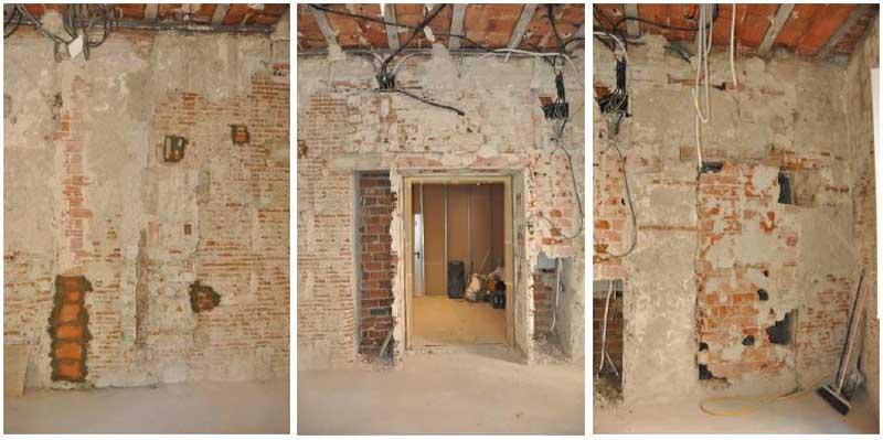 Estudio para la consolidación de un muro de carga en un edificio histórico. Tres zonas del muro .