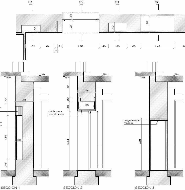 Planta y secciones transversales de muro