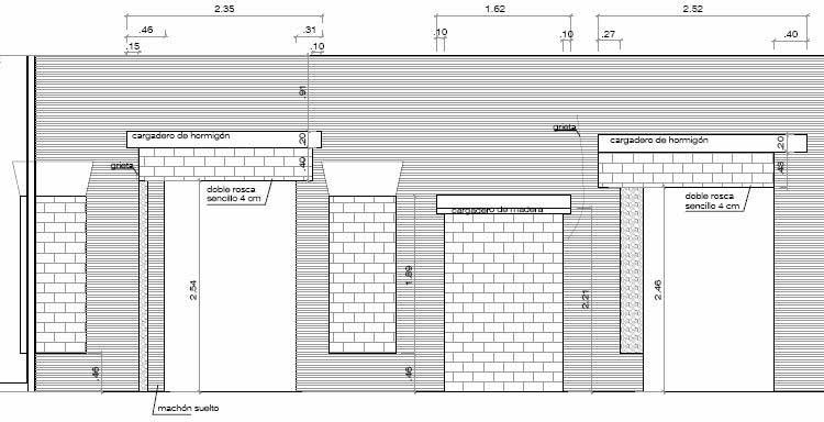 Alzado de la zona derecha del muro de planta primera