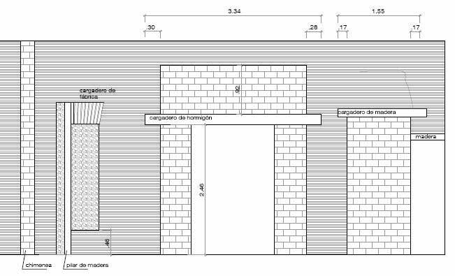Estudio para la consolidación de un muro de carga en un edificio histórico.Alzado zona derecha