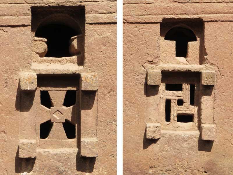 Iglesias talladas en la roca de lalibela, etiopía. Ventanas