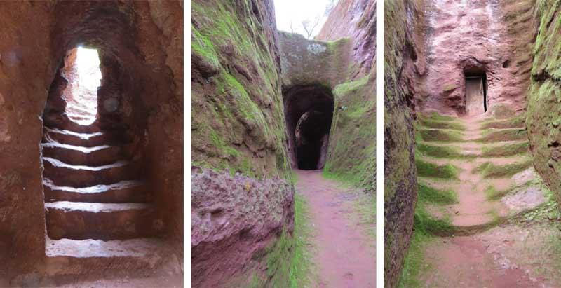Iglesias talladas en la roca de lalibela, etiopía. Túneles y pasillos entre iglesias
