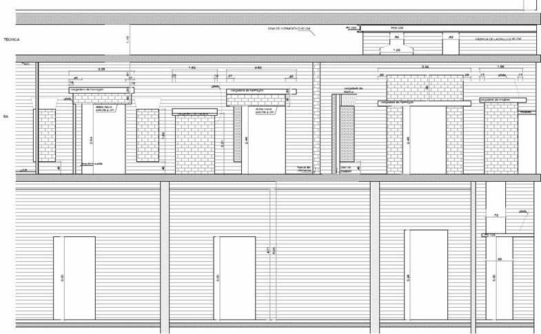 Proyecto de consolidación de un muro de carga a partir del estudio previo del mismo. Alzado del muro