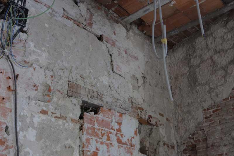 Proyecto de consolidación de un muro de carga a partir del estudio previo del mismo. Estado inicial del muro