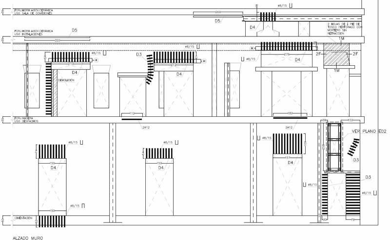 Proyecto de consolidación de un muro de carga a partir del estudio previo del mismo. Alzado de la intervención