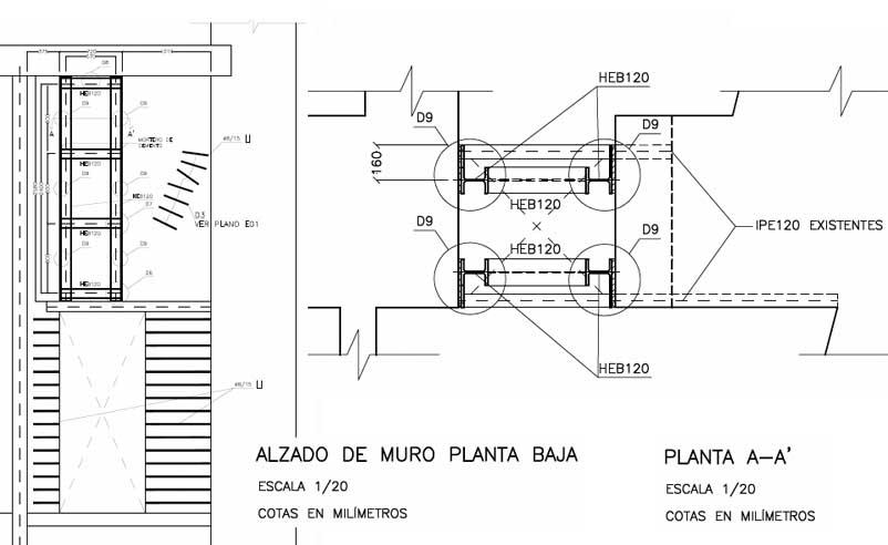 Proyecto de consolidación de un muro de carga a partir del estudio previo del mismo. Refuerzo de hueco con perfiles acodalados.