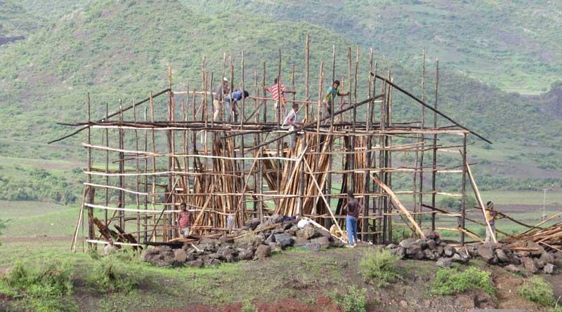 Estructura de maderas en construcción