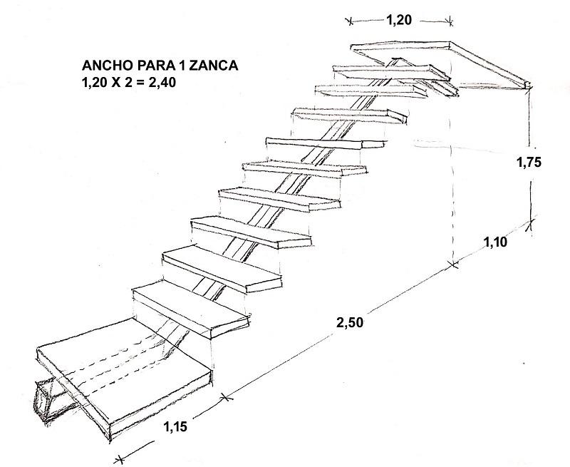 escalera metalica de una sola zanca