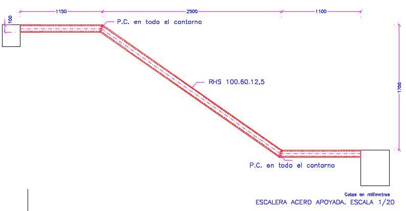 escalera metalica de una sola zanca con e-struc