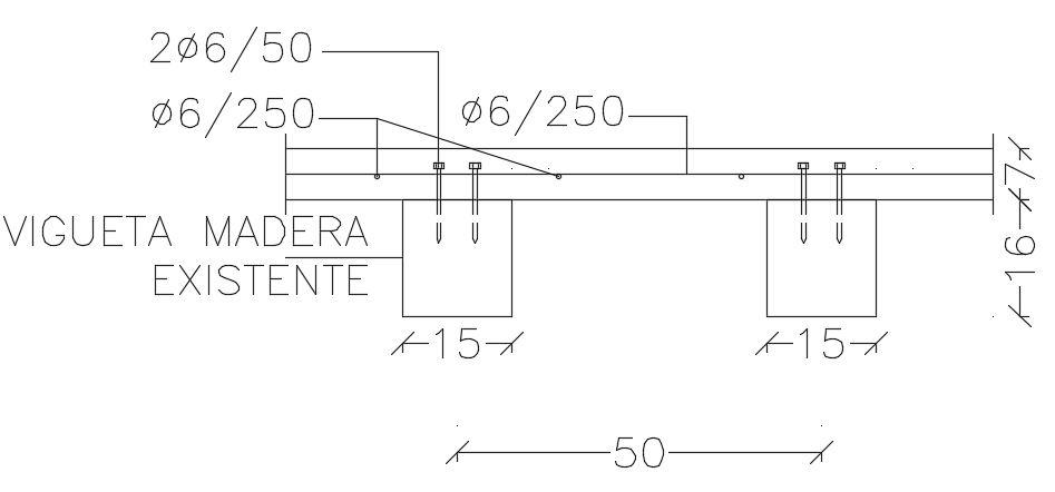 Sección transversal. Refuerzo de forjados de madera con tornillos y losa de hormigón