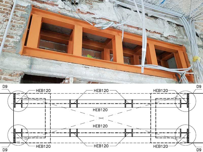 Puesta en obra estructura de acero. Error en ejecución y plano de detalle
